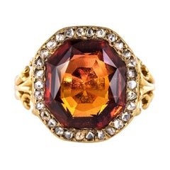 19th Century French 6.20 Carat Hessonite Garnet Rose Cut Diamonds Antique Ring