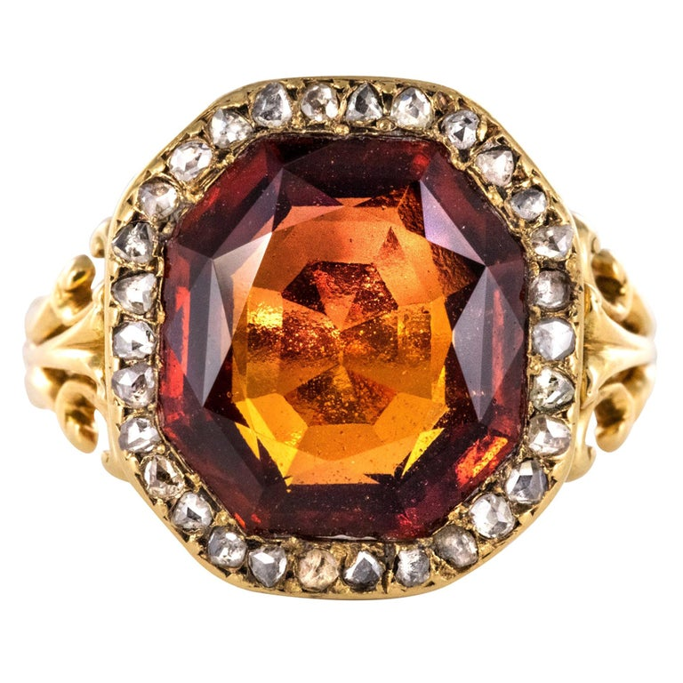 19th Century French 6.20 Carat Hessonite Garnet Rose Cut Diamonds Antique Ring For Sale