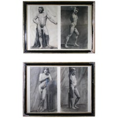 19th Century French Academic Anatomical Pencil Charcoal Nude Drawings Studies