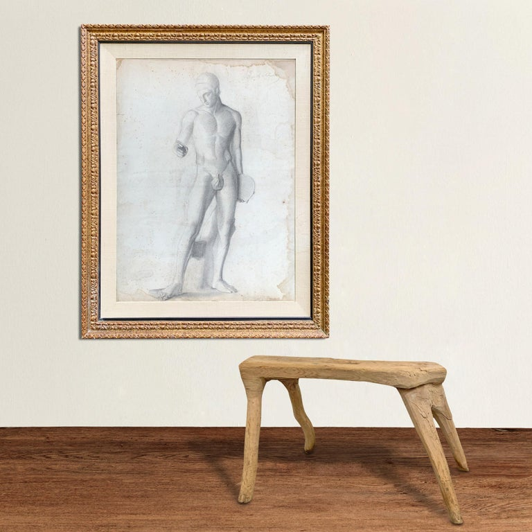 A beautiful 19th century gilt framed French academic figure drawing depicting the Discobolus, an ancient Greek carved marble sculpture found at the Louvre in Paris.
