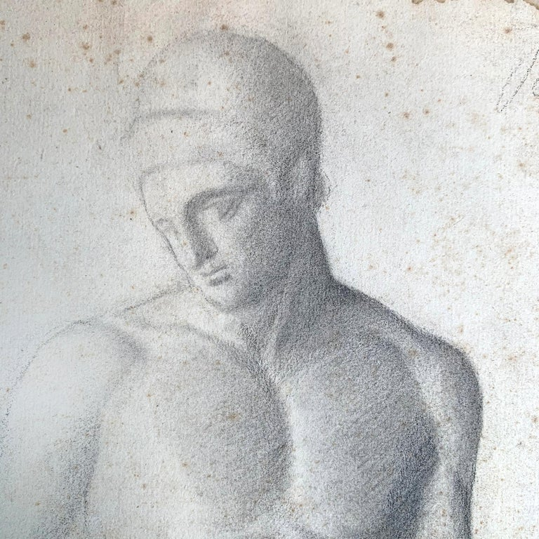 Neoclassical 19th Century French Academic Figure Drawing For Sale