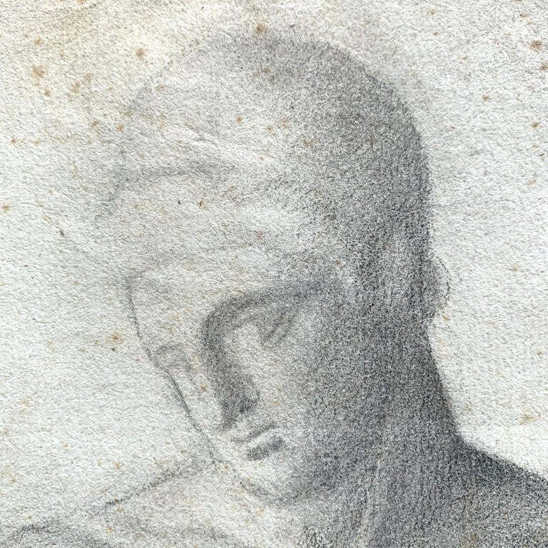 19th Century French Academic Figure Drawing In Fair Condition For Sale In Chicago, IL