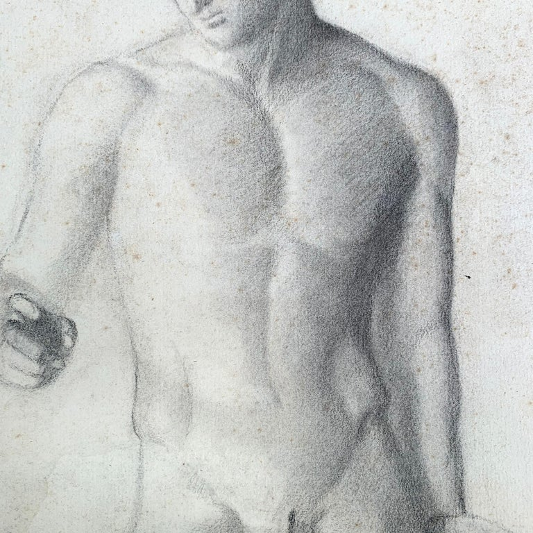 Paper 19th Century French Academic Figure Drawing For Sale