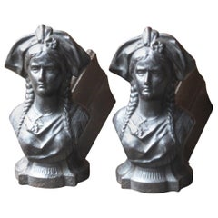 19th Century French 'Alsacian Woman' Andirons, Firedogs