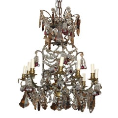 19th Century, French Amethyst-Tinted to Clear Crystal Chandelier