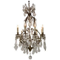 19th Century French and Bronze Crystal 9 Light Chandelier