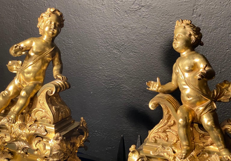 19th Century French Andirons, Opposing Cherubs on Stands in Doré Bronze For Sale 8