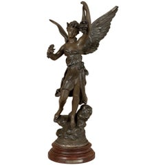 "19th Century French Angel Spelter Statue, ""La Fortune"" by Kossovski"