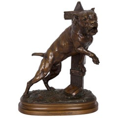 19th Century French Antique Bronze Sculpture of Bull Dog by Prosper Lecourtier