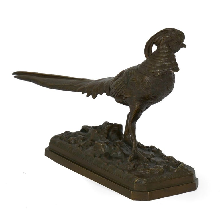 Egyptian Revival 19th Century French Antique Bronze Sculpture of Golden Pheasant by Henri Trodoux For Sale