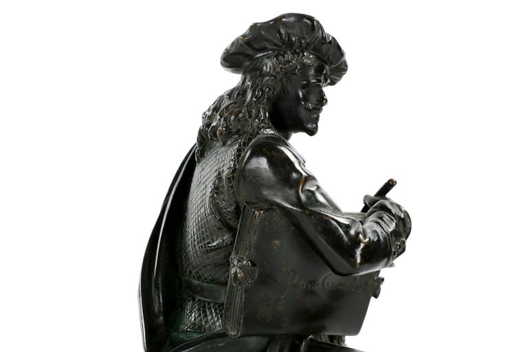 19th Century French Antique Bronze Sculpture of Rembrandt by Carrier-Belleuse For Sale 12