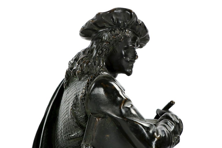 19th Century French Antique Bronze Sculpture of Rembrandt by Carrier-Belleuse For Sale 14