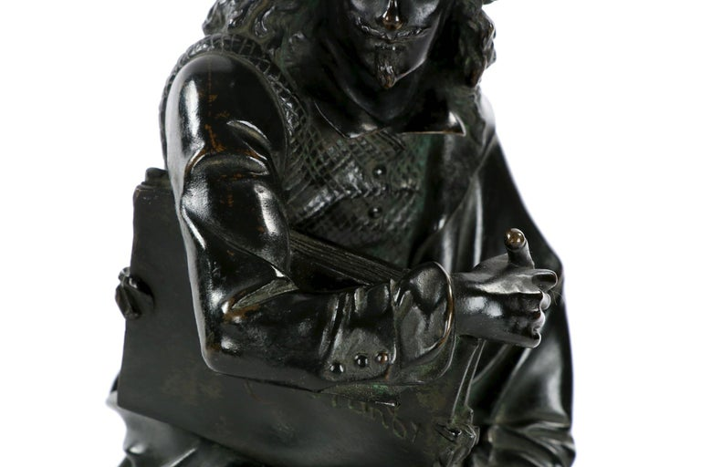 19th Century French Antique Bronze Sculpture of Rembrandt by Carrier-Belleuse For Sale 5