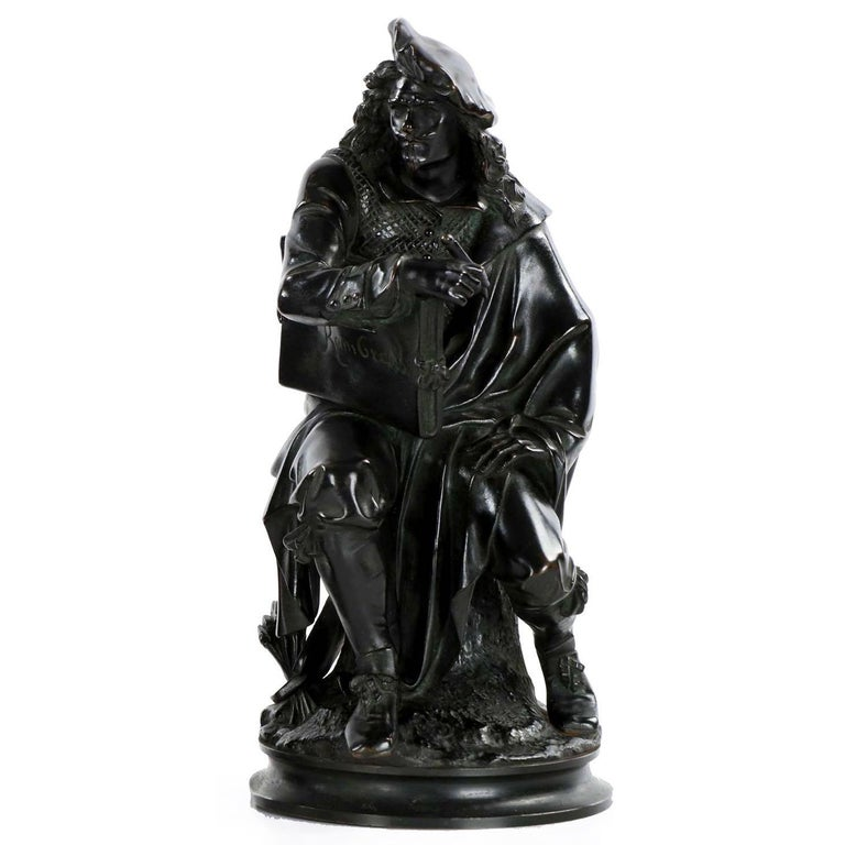 19th Century French Antique Bronze Sculpture of Rembrandt by Carrier-Belleuse For Sale