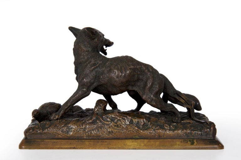 """19th Century French Antique Bronze Sculpture of """"Renard"""" by Alfred Dubucand For Sale 7"""
