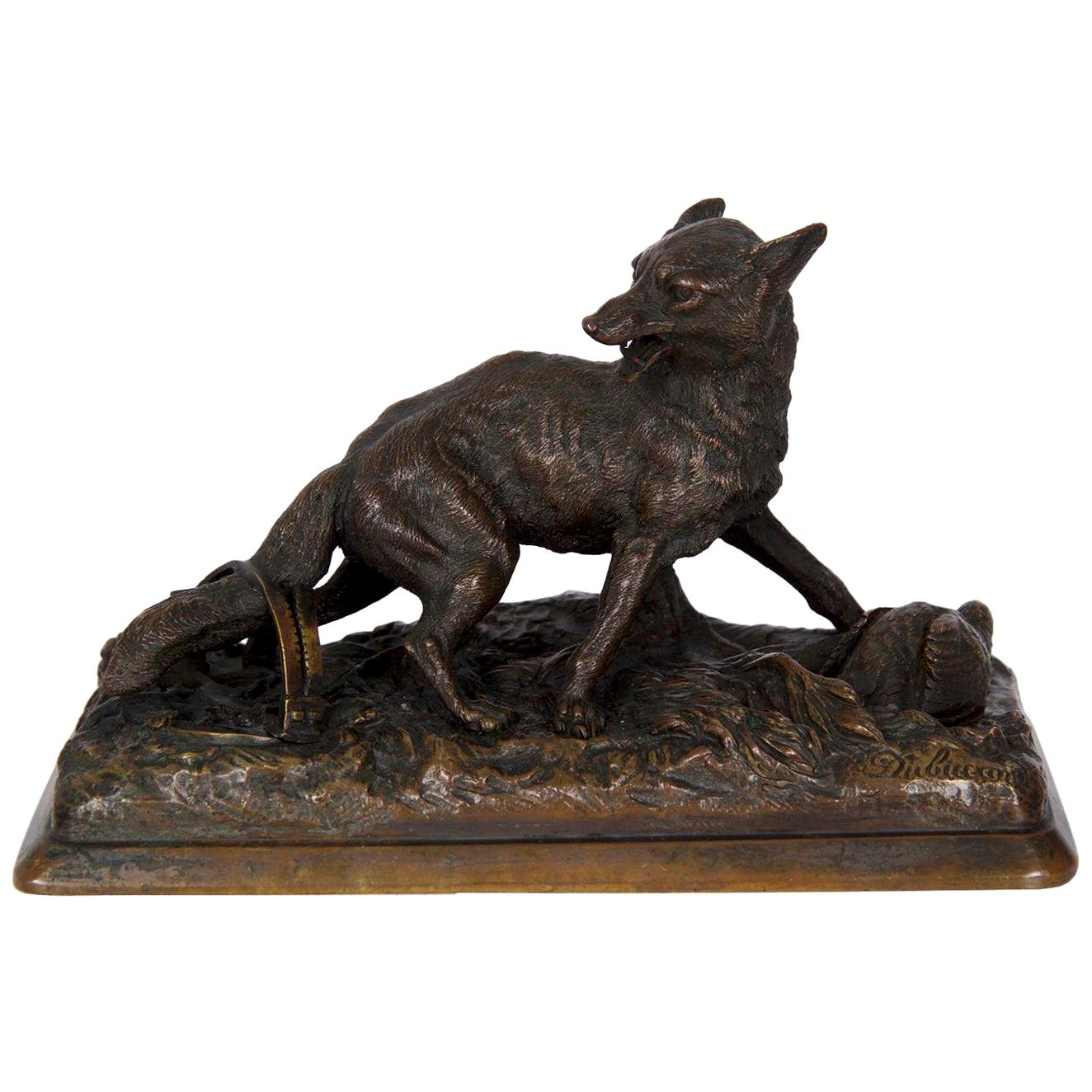 """19th Century French Antique Bronze Sculpture of """"Renard"""" by Alfred Dubucand"""