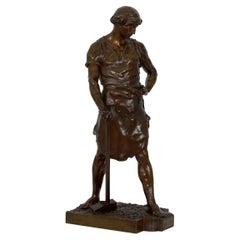 """19th Century French Antique Bronze Sculpture """"Pax et Labor"""" by Emile Picault"""