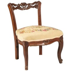 19th Century French Antique Hand Carved Low Back Chair Napoleon III Period