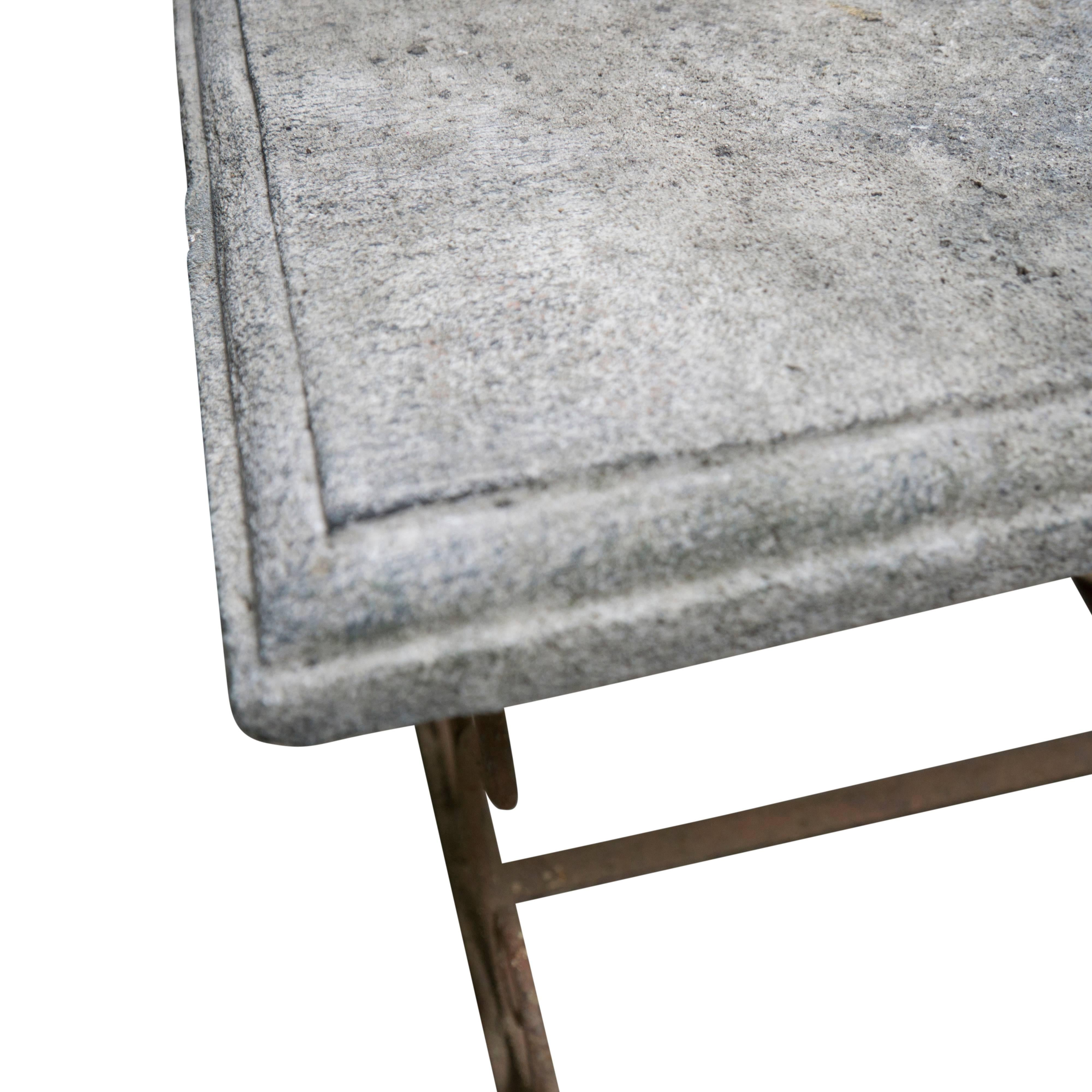19th Century French Antique Limestone Table With Iron Base In Good  Condition For Sale In Culver