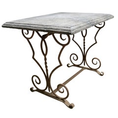 19th Century French Antique Limestone Table with Iron Base