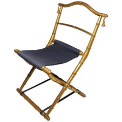 19th Century French Antique Napoleon III Gold Leaf Folding Chair