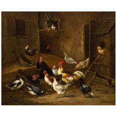 19th Century French Antique Painting of Poultry in Farmyard by Claude Guillemine