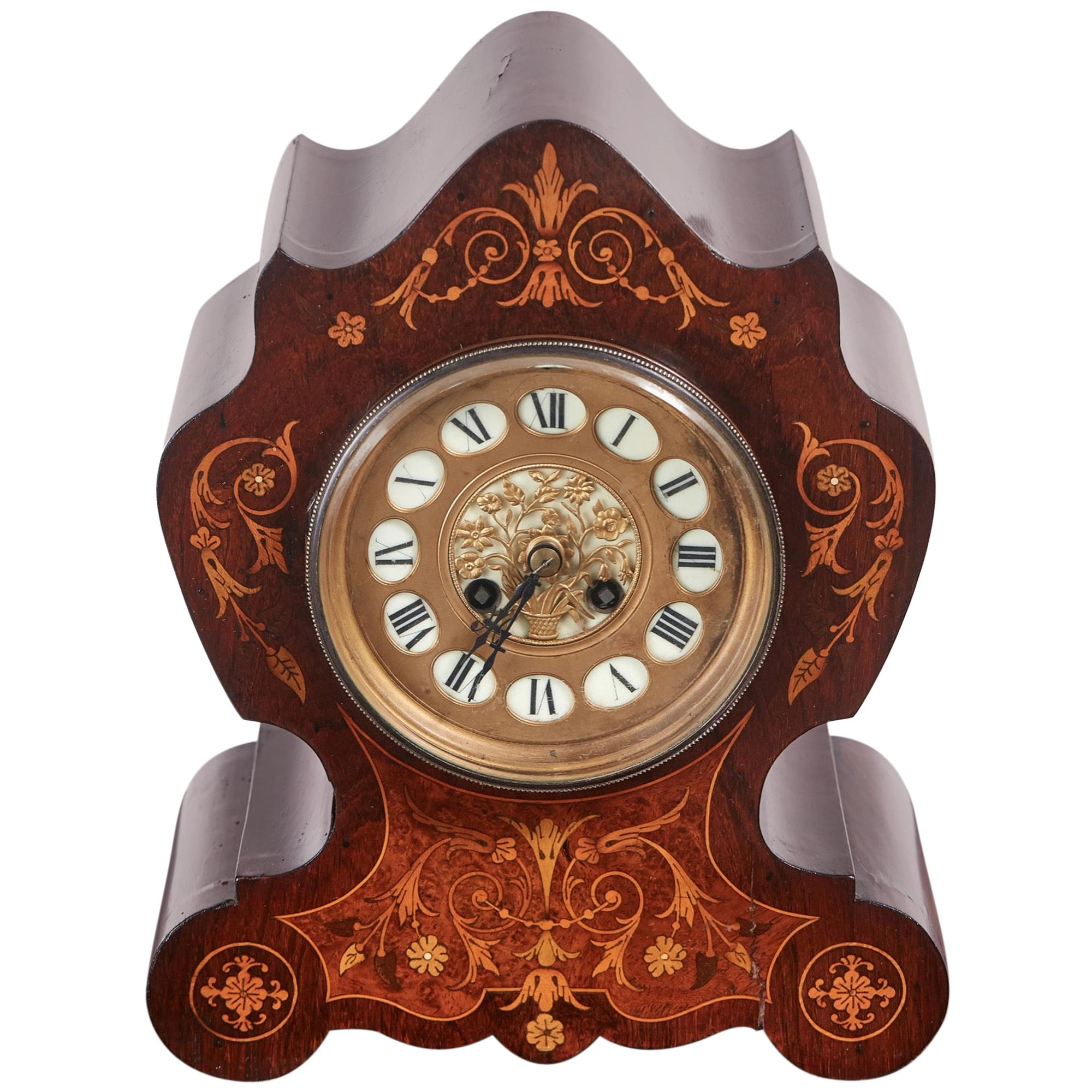 19th Century French Antique Rosewood Marquetry Inlaid 8 Day Mantel Clock