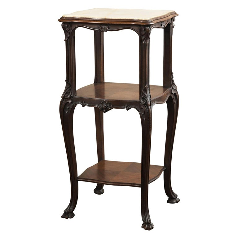 19th Century French Antique Solid Rosewood Onyx Top Nightstand or Lamp Table For Sale