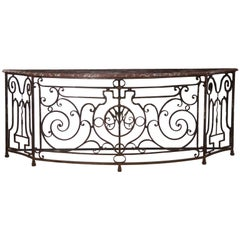19th Century French Antique Wrought Iron Console Server Table with Marble Top
