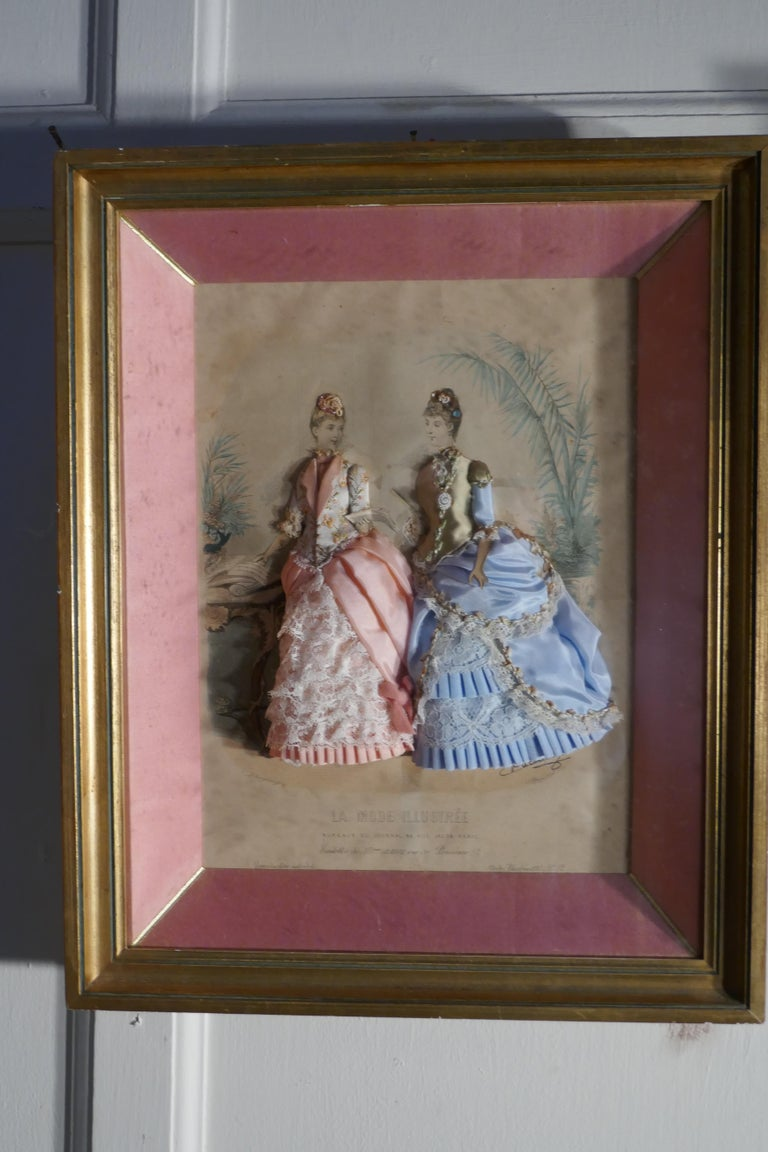 19th Century French Appliqué Framed Fashion Salesman Samples In Good Condition For Sale In Chillerton, Isle of Wight