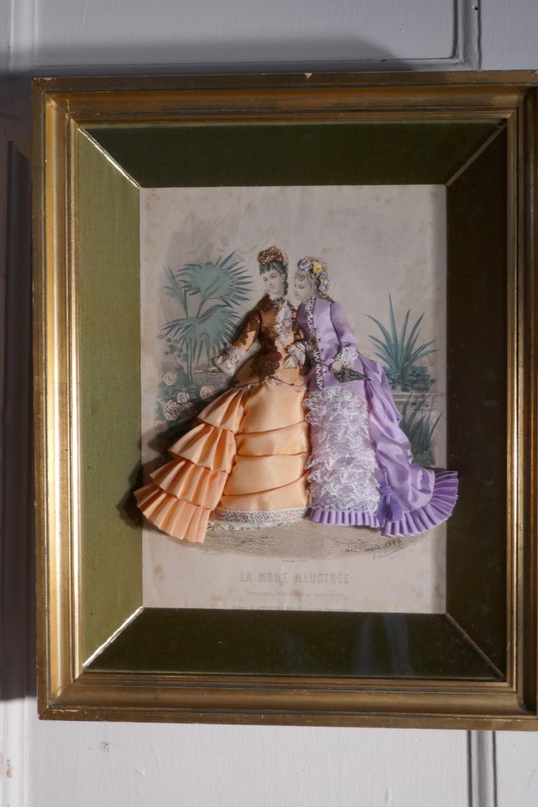19th Century French Appliqué Framed Fashion Salesman Samples For Sale 2