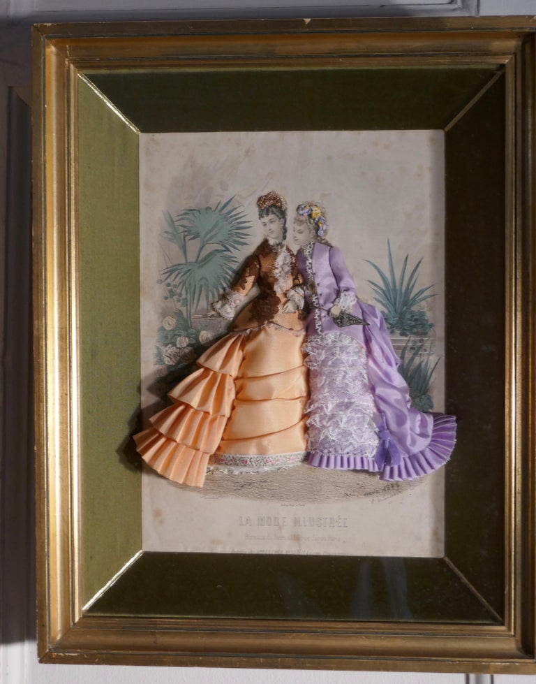 19th Century French Appliqué Framed Fashion Salesman Samples For Sale 3