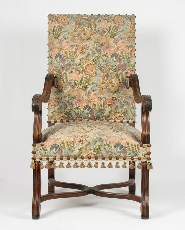 A late 19th century Baroque style armchair. Made from solid walnut. It have