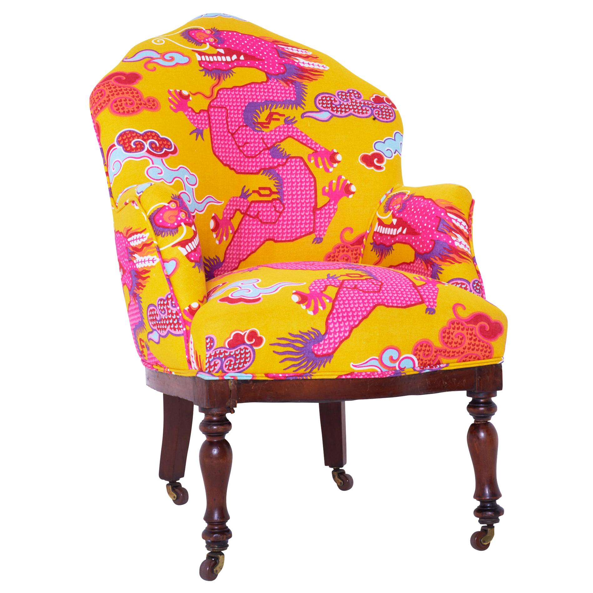 19th Century French Armchair Upholstered in Magical Ming Dragon Fabric