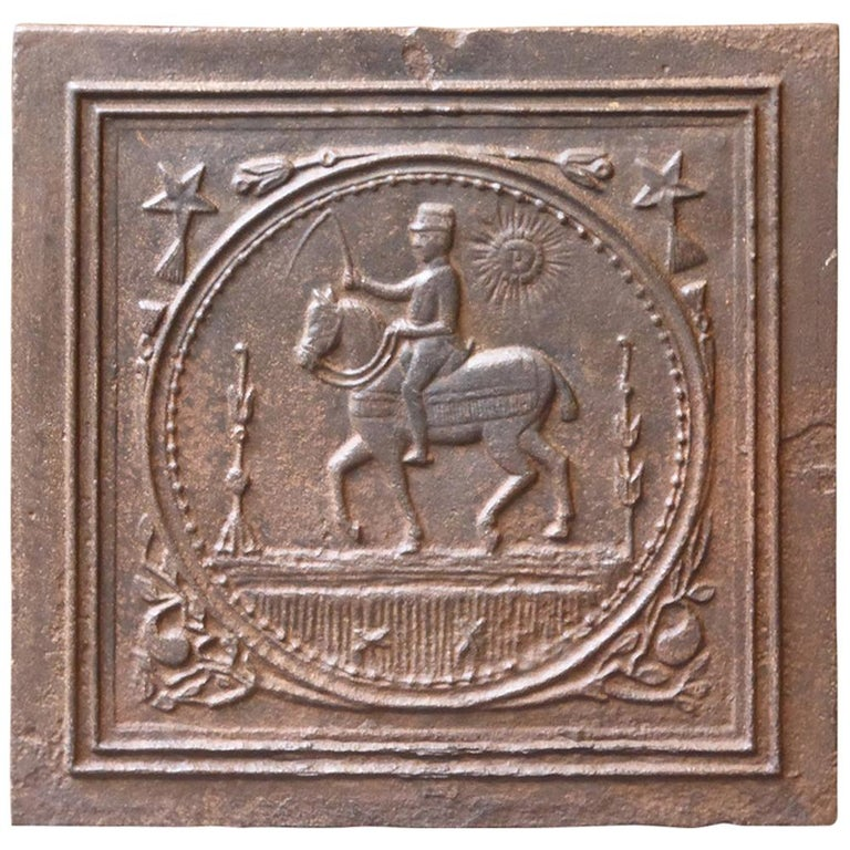 19th Century French Art Nouveau 'Horse' Fireback For Sale
