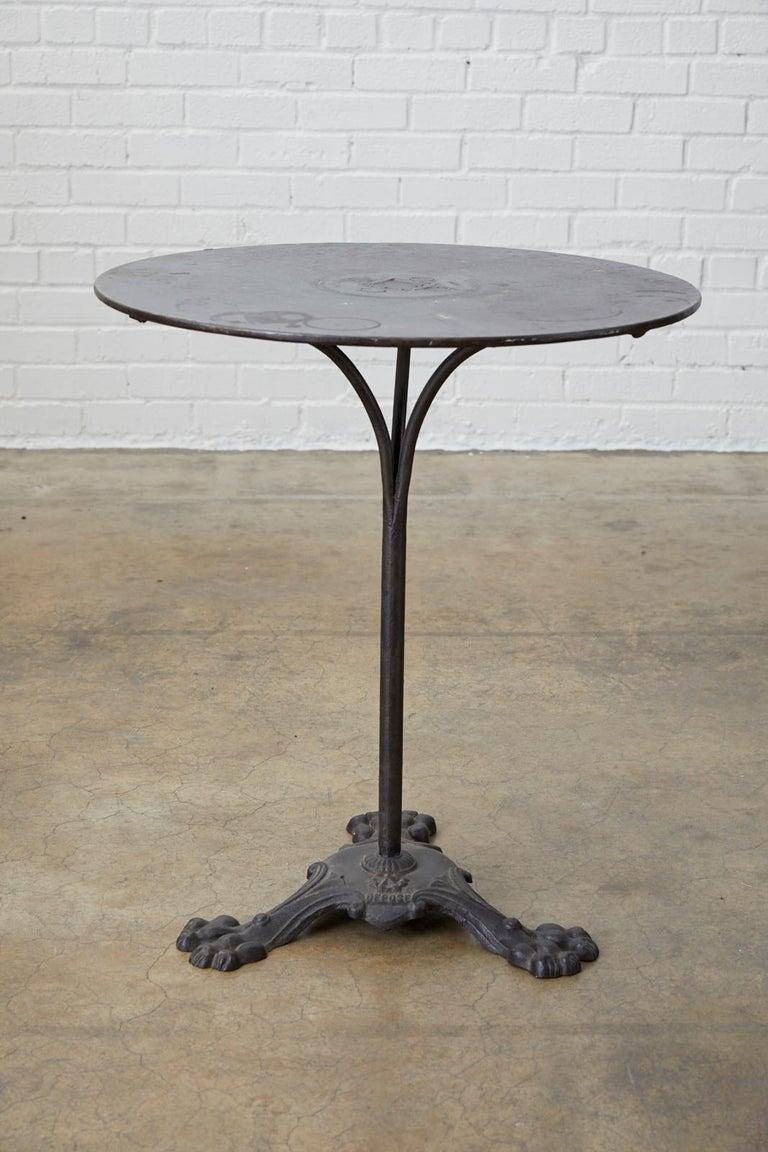 19th Century French Art Nouveau Iron Pub Bistro Garden Table For Sale 8