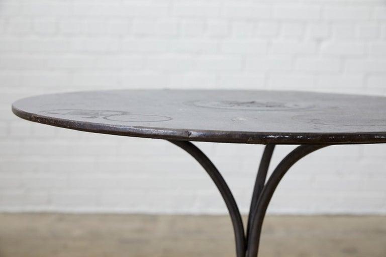 19th Century French Art Nouveau Iron Pub Bistro Garden Table For Sale 5
