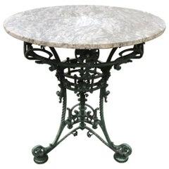 19th Century French Art Nouveau Marble-Top Wrought Iron Café Table