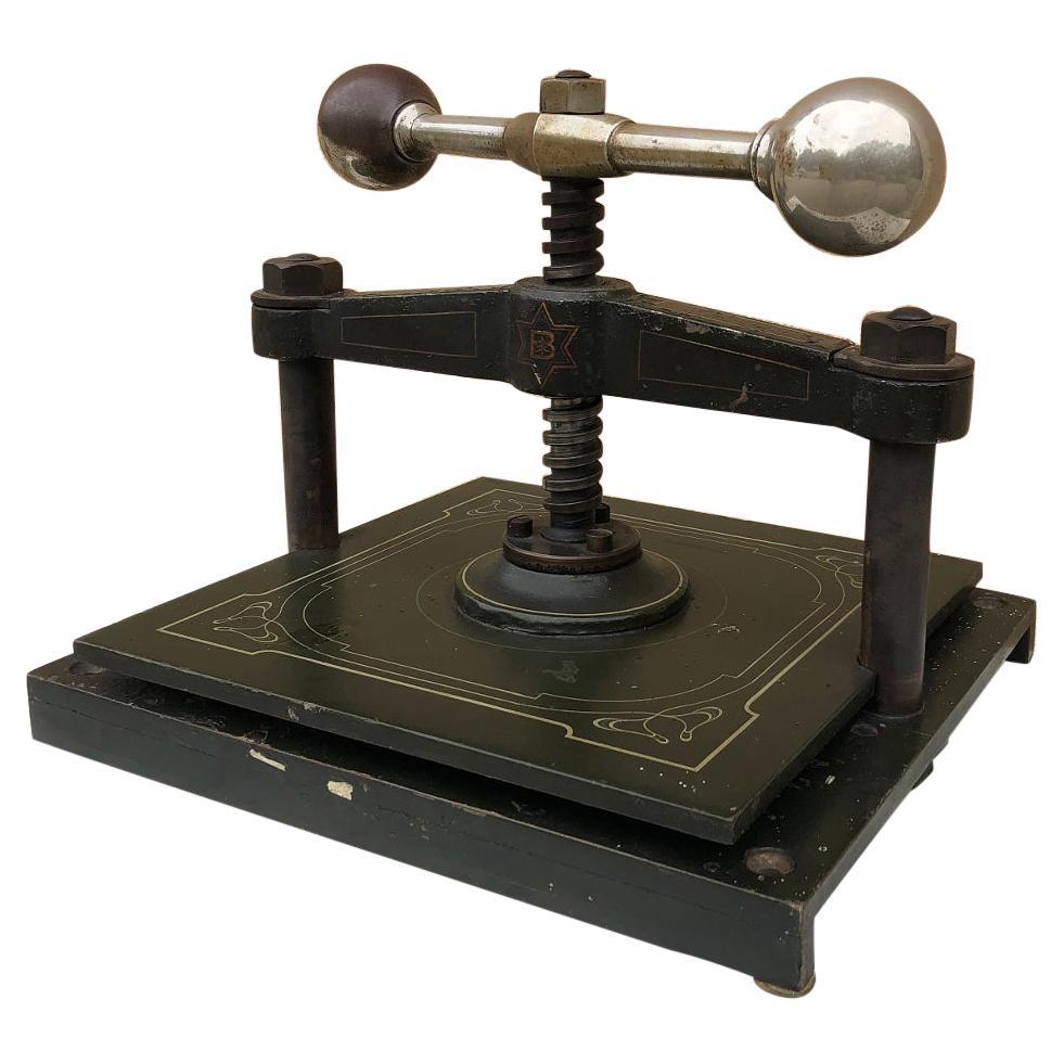 19th Century French Art Nouveau Period Cast Iron Book Press