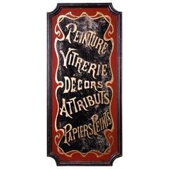 19th Century French Art Nouveau Verre Églomisé Gilt Trade Shop Sign