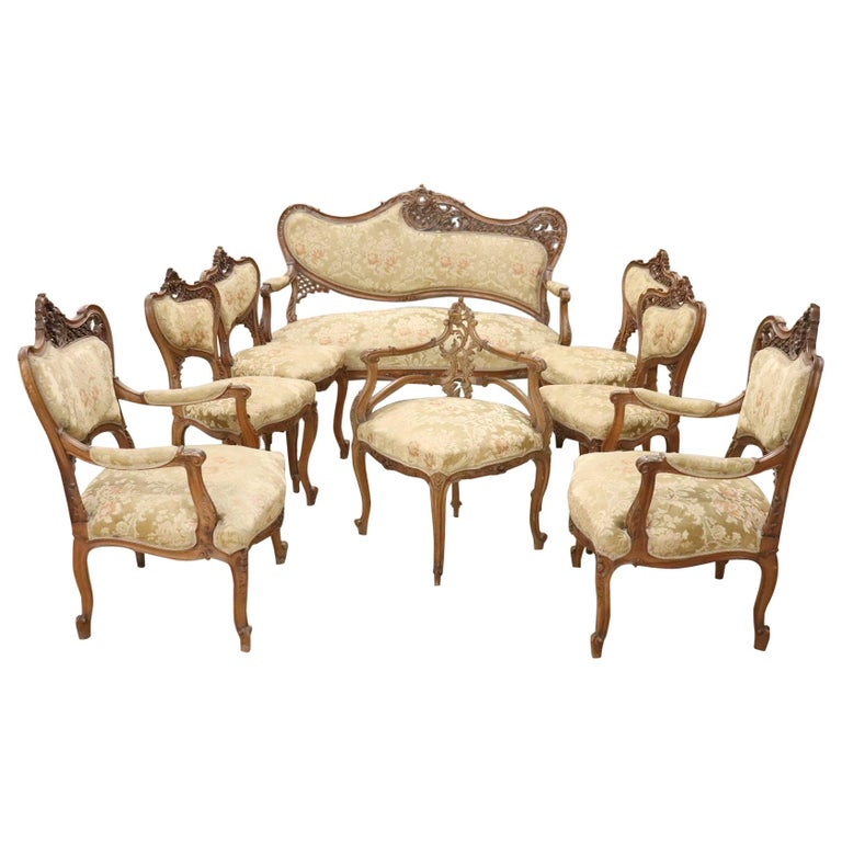 Living Room Suites For Sale: 19th Century French Art Nouveau Walnut Carved Living Room