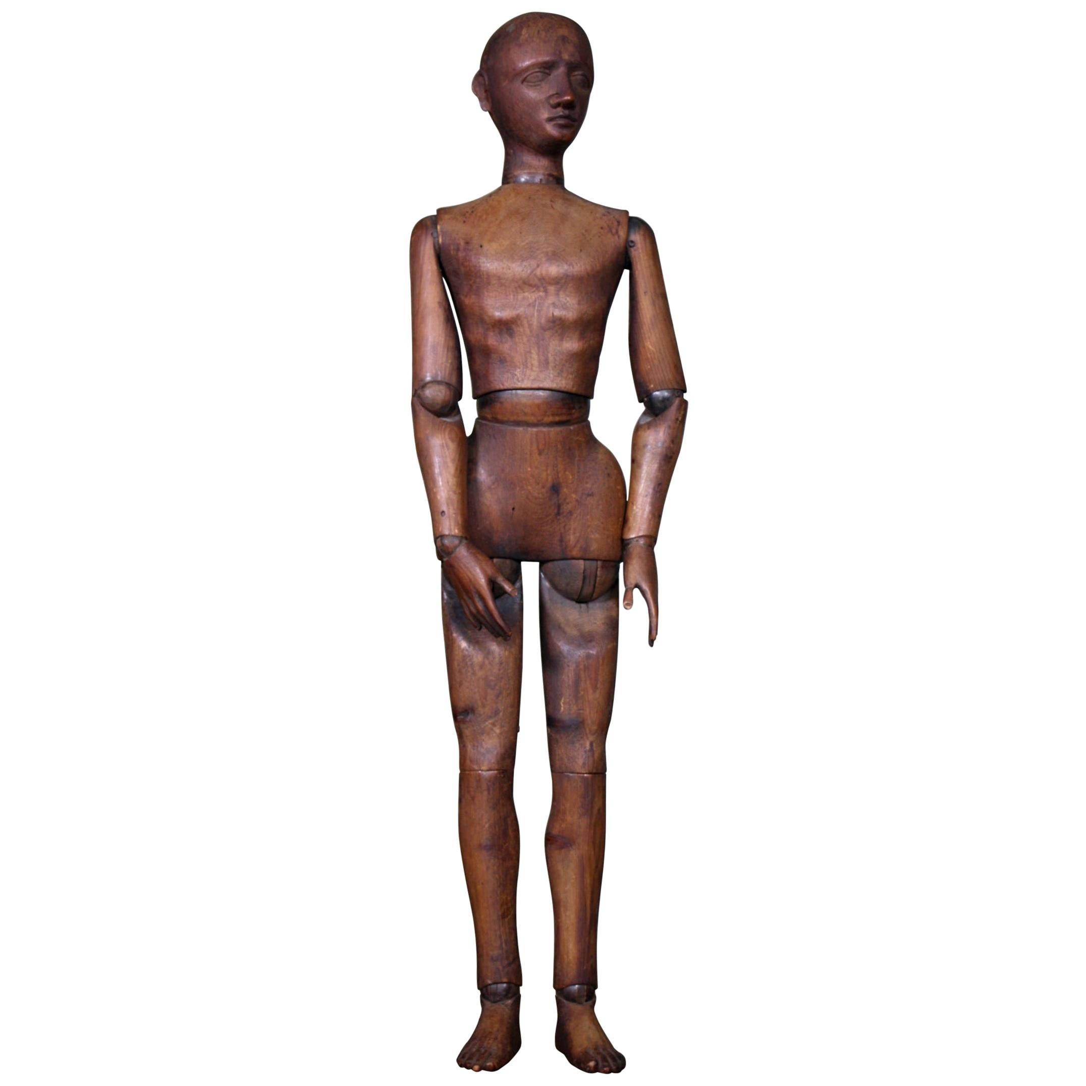 19th Century French Articulated Artist Lay Figure Mannequin Folk Art Curio