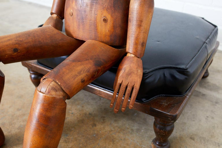 19th Century French Articulated Wood Artists Mannequin For Sale 4