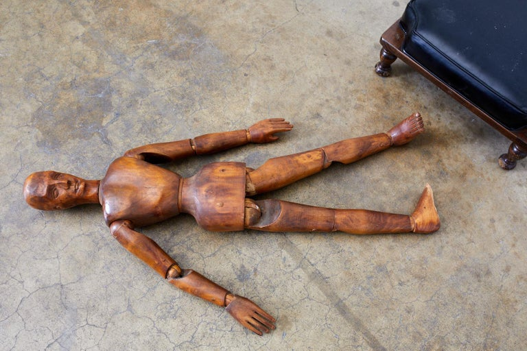 19th Century French Articulated Wood Artists Mannequin For Sale 6