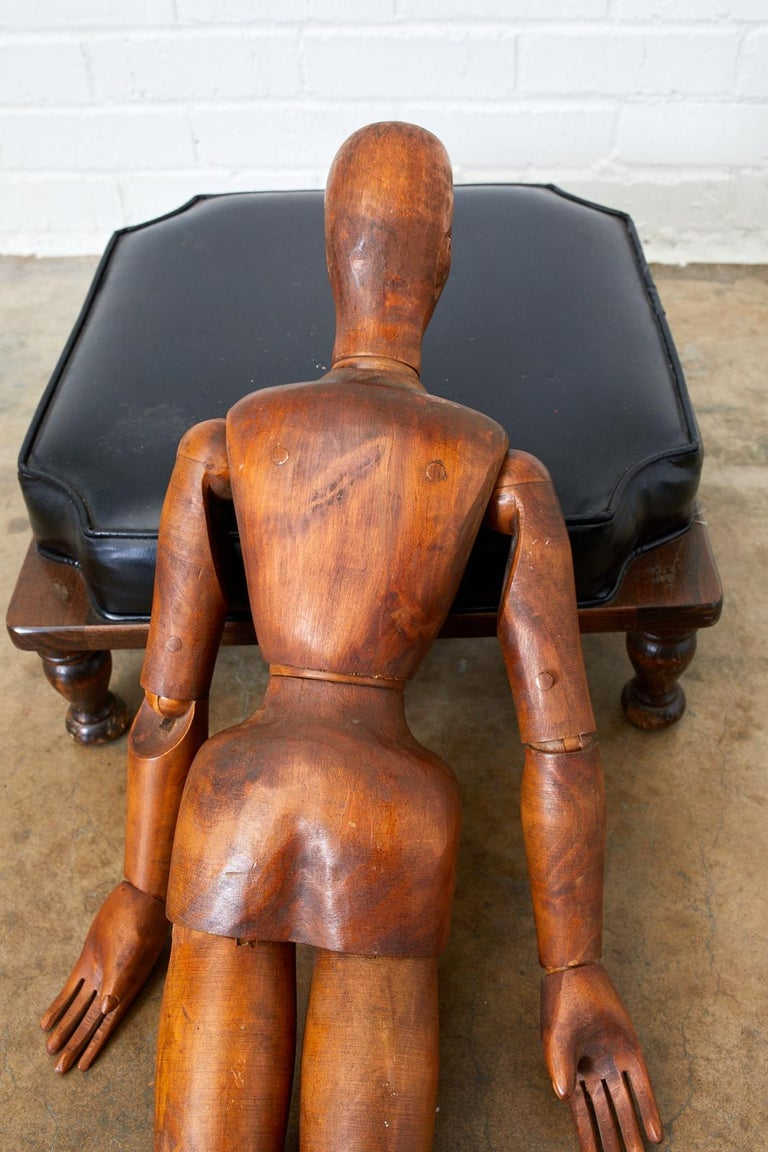 19th Century French Articulated Wood Artists Mannequin For Sale 7
