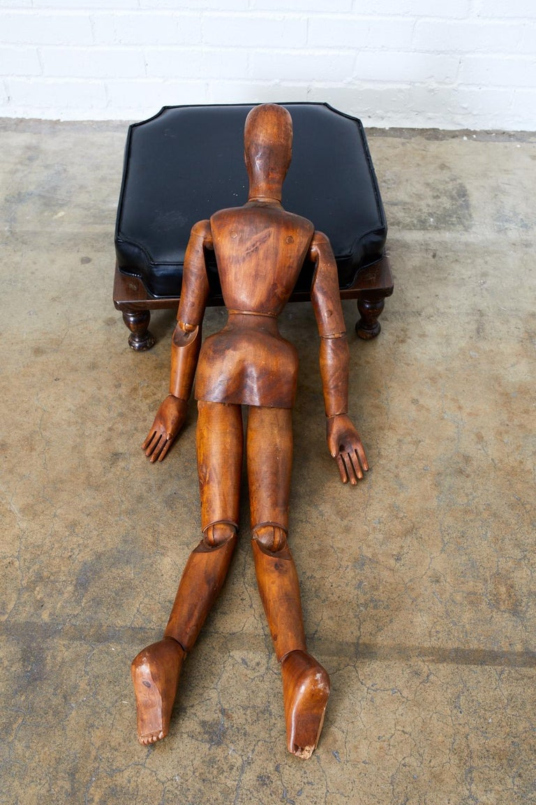 19th Century French Articulated Wood Artists Mannequin For Sale 8