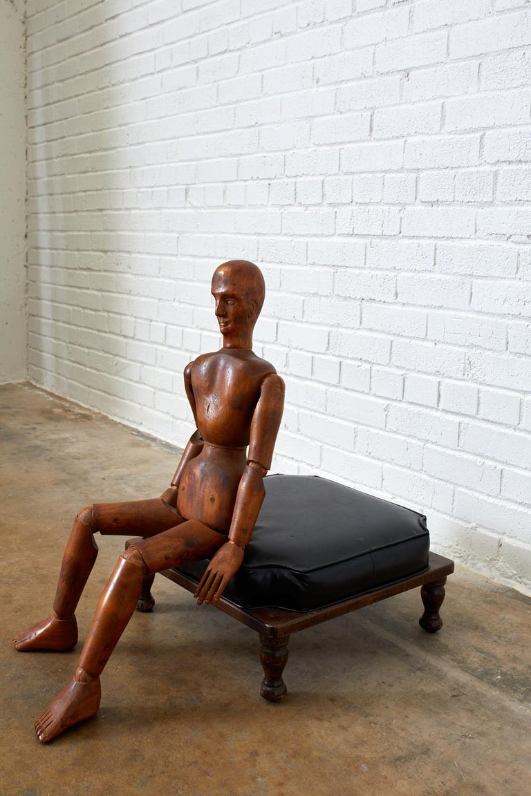 19th Century French Articulated Wood Artists Mannequin For Sale 9