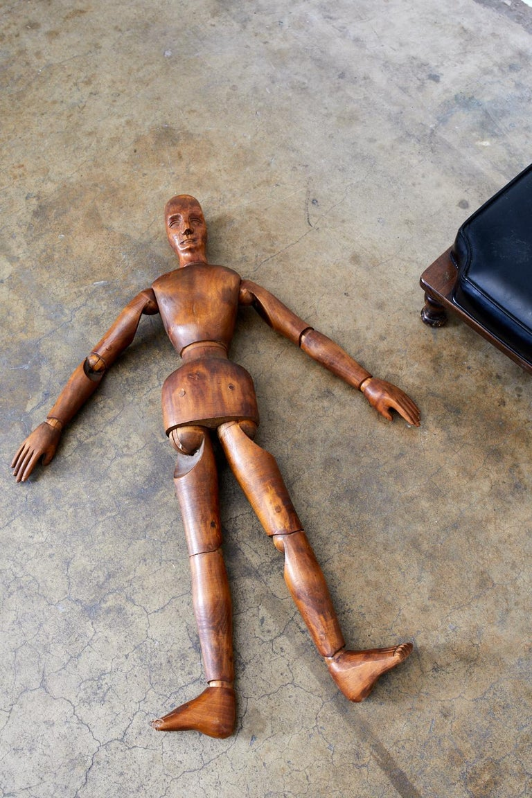 19th Century French Articulated Wood Artists Mannequin For Sale 10