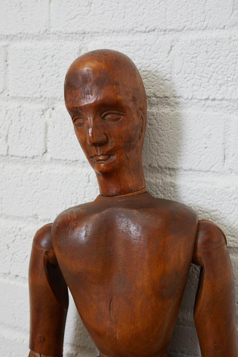 Rustic 19th Century French Articulated Wood Artists Mannequin For Sale