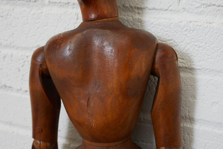 Hand-Crafted 19th Century French Articulated Wood Artists Mannequin For Sale